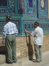 Oezbeekse toeristen in Samarkand