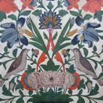 Sheki: detail van een muurschildering in het paleis van de Khan