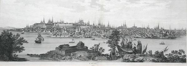 Kazan, zicht op de stad rond 1767 (foto: Франсуа Дени Не, Луи Николя де Леспинас - http://www.gelos.ru/, Public Domain, zie: https://commons.wikimedia.org/w/index.php?curid=15705176
