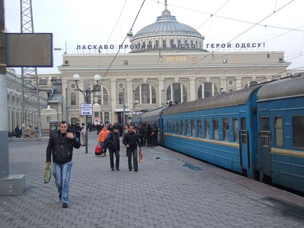 Met de trein door Oekraïne: aankomst op het station van Odessa (foto: Blini Reizen)