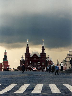 Moskou: zicht op het Nationaal Historisch museum op het Rode Plein