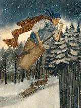Baba Yaga als illustratie in een kinderboek, door Vera Pavlova (Rusland)