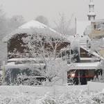 Uitzicht vanuit het Blini kantoor: het Unesco-monument Rietveld-Schröder-huis in de sneeuw