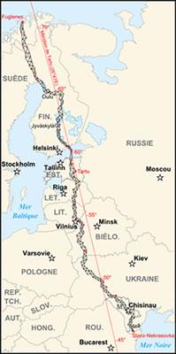 Zoomversie van de kaart van de Struve Geodetische boog (foto: historicair 00:00, 14 September 2007 (UTC) -  Struve Geodetic Arc-fr.svg, CC BY-SA 3.0, zie: https://commons.wikimedia.org/w/index.php?curid=2744496