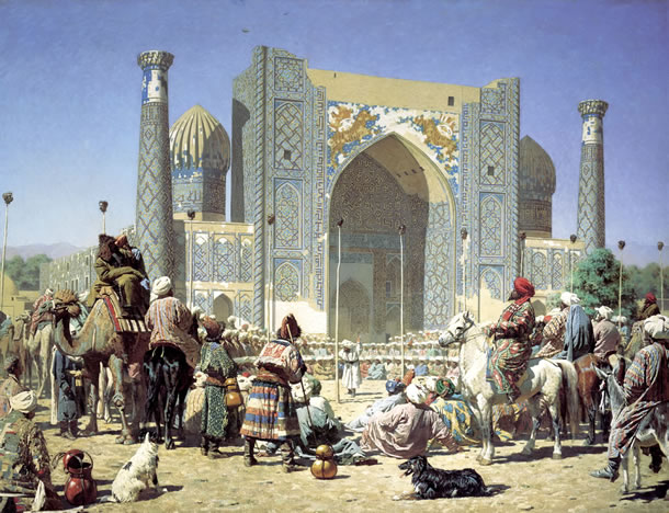De Sher Dor-madrassa in Samarkand door Vasily Vereshchagin